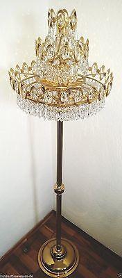 Stehleuchter 6-flammig mit Bleikristall  24 Karat vergoldet
