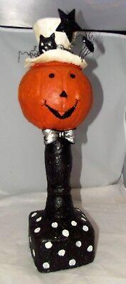 "Bethany Lowe Halloween Pumpkin JOL Paper Mache Spider Cat Hat w/ Bow Tie 20"""