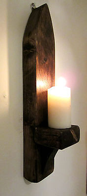 40CM RUSTIC SOLID WOOD DARK WAX GOTHIC ARCH WALL SCONCE CANDLE HOLDER