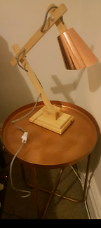 Copper bedside table and lamp