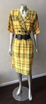 80s Dresses | Casual to Party Dresses Plaid Secretary Vintage 80s Retro Midi Plunging Career Yellow Black Dress L $34.00 AT vintagedancer.com