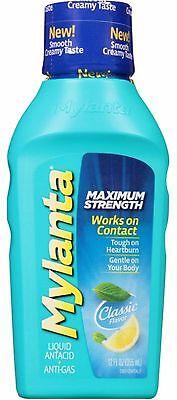 MYLANTA Maximum Strength Liquid Antacid + Anti-Gas, Classic Flavor 12 oz (Mylanta Maximum Strength)