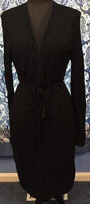 BCBG MAXAZRIA L Large Black Faux Wrap Sexy Sweater Dress EUC
