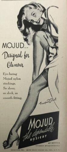 Mojud Hosiery Stockings Nylons Magazine Print Ad Vintage Women 1947 Original