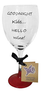 Goodnight kids hello wine wine glass hand painted uk funny cool gift for her ebay - Funny wine glasses uk ...