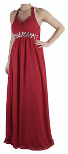 Womens Long Halterneck Chiffon Prom Formal Diamante Maxi Evening Dress UK 6-26