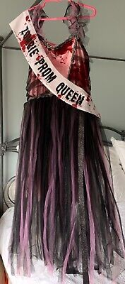 ZOMBIE PROM QUEEN COSTUME KIDS LARGE (10-12) PROFESSIONALLY - Prom Queen Costume
