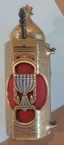 Vintage Ornate Mini Torah Scroll Gold Tone Heavy Metal Sephardic Cover Case Mark