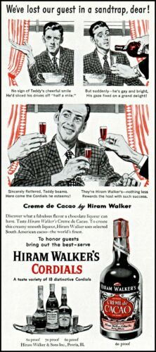 1952 Creme de Cacao by Hiram Walker cordials vintage art print ad ads41