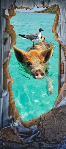Türposter Meer Aufkleber Möbelfolie Schwein Schwimmen Lustig See Tier 1237tP
