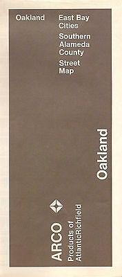 1971 ARCO Atlantic Richfield Road Map OAKLAND Calfiornia Berkeley Alameda County