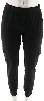 Denim & Co Womens Active French Terry Cargo Pants Rib Cuffs Black S NEW -