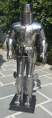 Halloween Medieval Crusader Knight in Suit of Armor & Sword Full Size Body Suit