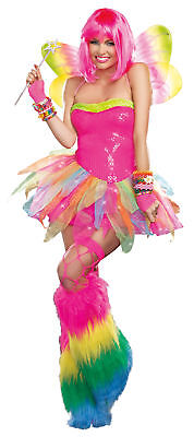 Rainbow Fee Erwachsene Kostüm Damen Kleid Rock Neon Wings Sexy Halloween ()