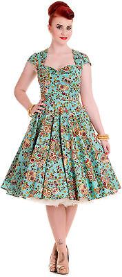 Hell Bunny SASHA Sugar Skulls Flower Pin Up Swing Kleid / DRESS Rockabilly ()