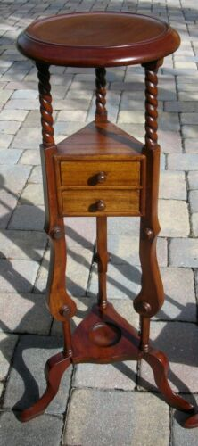 Antique Vintage Georgian Style Mahogany Barley Twist Wig Plant Stand (2 Avail.)