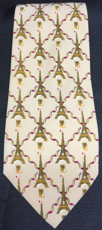 Eiffel Tower Tie Andre Claude Canova 57L Polyester NeckTie EUC