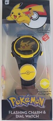 Pokemon Pikachu LCD Kid's Watch w/ Flashing Icon & Light Up Dial New