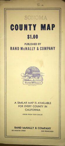 "1951 Sonoma County California Map by Rand McNally Original in folder 25"" x 25"""