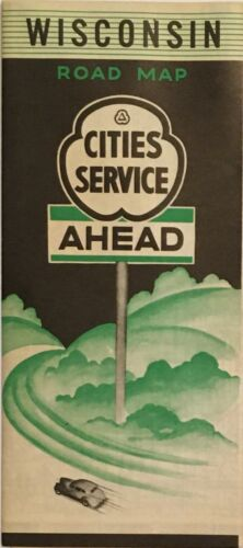 1938 Cities Service Road Map: Wisconsin NOS