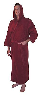 Hooded Bathrobe Turkish Cotton Terry Full Length Mens Womens Warm Robe- Burgundy - Mens Hooded Bathrobe