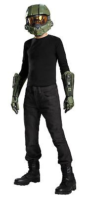 Jungen Master Chief Halo Kinder Kostüm Zubehör Set Halb Maske und Handschuhe (Halo Master Chief Kind Kostüme)