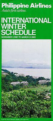 Philippine Airlines International Timetable  November 1  1981