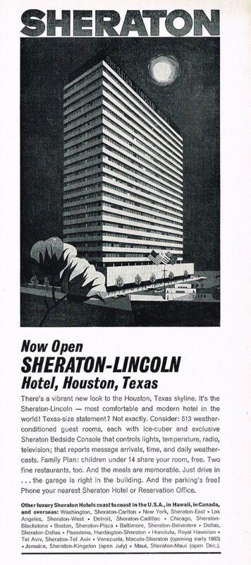 1962 Vintage Sheraton Lincoln Hotel Opening Houston Texas Building Art Print Ad