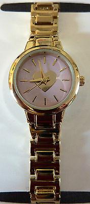 NEU OPIA Damen Uhr Herz Ziffernblatt Pink Armbanduhr Gold farbig Metallarmband