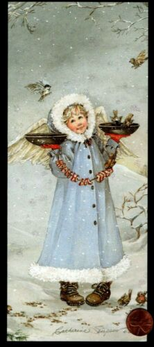 CHRISTMAS Angel Girl Birds Feeding Snow -  GLITTERED - Christmas Greeting Card