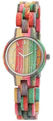 Excellanc Damenuhr Bunt Mehrfarbig Holz Wood Analog Mode Armbanduhr X1800194005