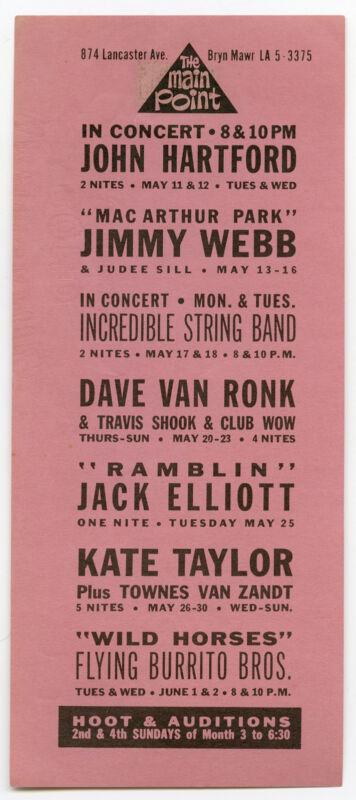 FLYING BURRITO BROS Dave Van Ronk I.S.B. Original 1971 Concert Handbill / Flyer