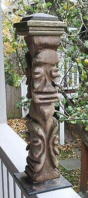 Vintage Tiki Style Carved Wood Faces Folk Art Witco Totem 24