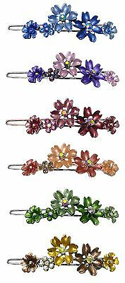 Crystal Flower Barrette with Snap-On Hair Clip for Thin Hair