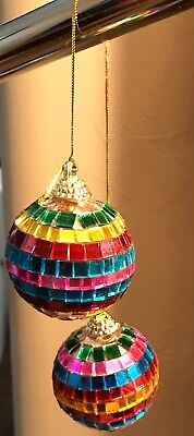 2 Mini Rainbow Disco Ball Car Rear View Mirror Ornament Mirror Mosaic Gay Pride