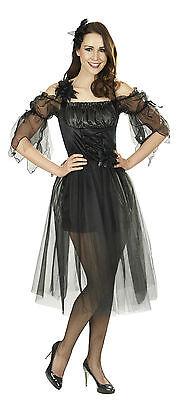 Schwarze Fee Kleid (Black Fairy Schwarzes Feen Kleid 1-tlg. Fee Elfe Damen Kostüm Fasching Karneval)