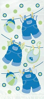 Baby Shower Favor Bags Clothesline Boy Blue  Decorations Party Supplies 20 ct (Baby Shower Clothesline)