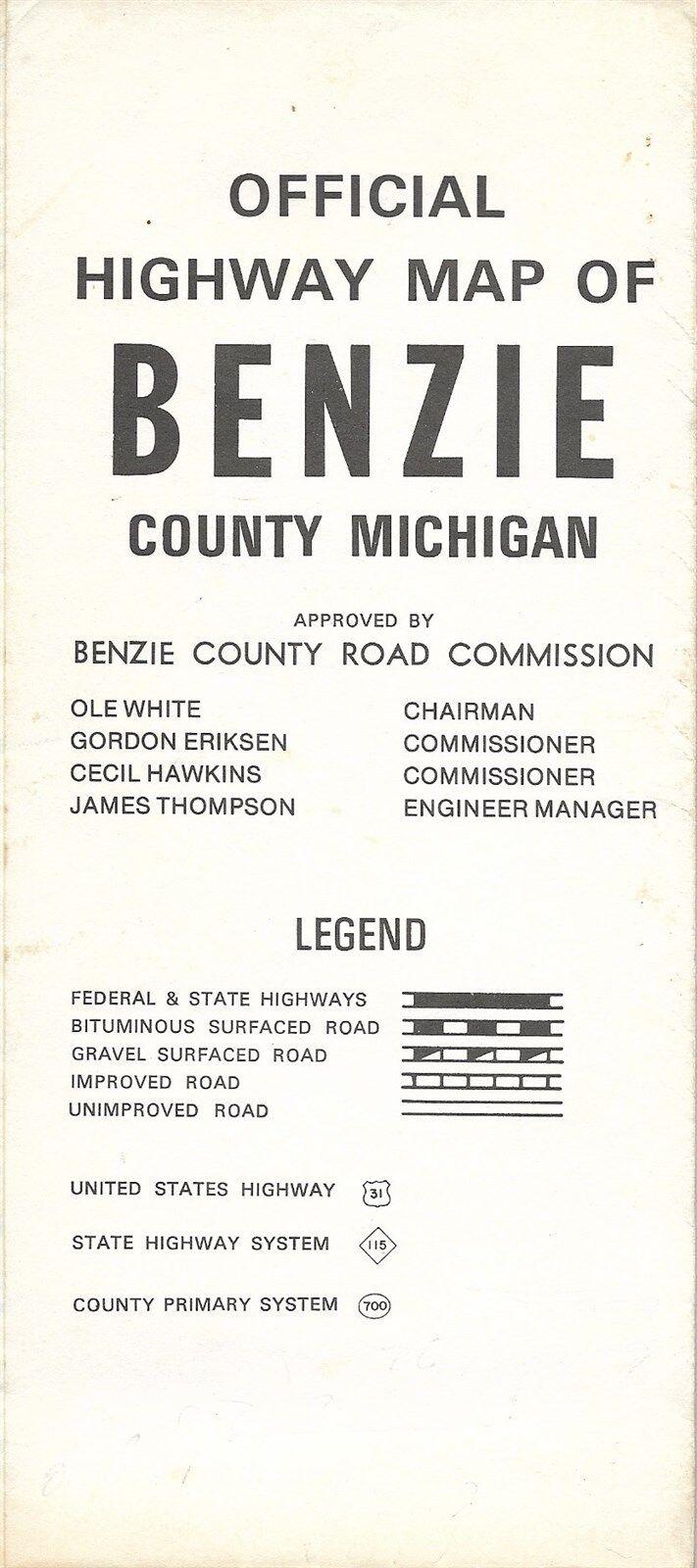 Michigan benzie county benzonia - 1965 Road Map Benzie County Lake Michigan Frankfort Beulah Honor River Railroads