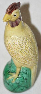 Chinese Republic Period 1920s Yellow Brown & Green Glaze Porcelain Large Bird Chinese Porcelain Green Glaze