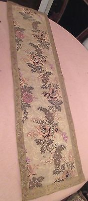 large vintage ornate embroidered centerpiece table mat runner floral needlepoint