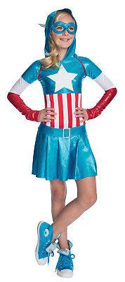 Captain America Deluxe Hoodie Costume Marvel Superhero Girls Size Large 12-14 - Captain America Costume For Girl
