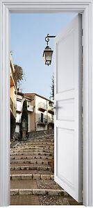 Sticker porte trompe l 39 oeil escalier 90x200 cm r f 320 ebay - Stickers trompe l oeil escalier ...