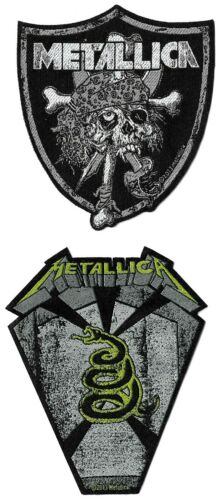 Metallica Raider Skull + Pit Boss Coffin Patch Lot [UK Import] Die-Cut Patches