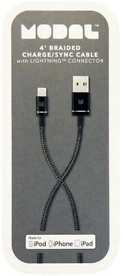 NEW Modal 4ft Braided USB to Lightning Charge & Sync Cable iPhone X/XS/8/7 Black