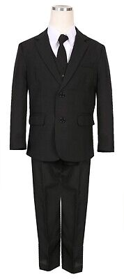 Boys slim fit suit black formal wedding Christmas Holiday set long tie vest pant - Boys Suit