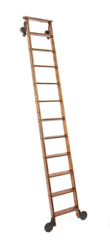 Cotterman Oak Wood Rolling Library Ladder