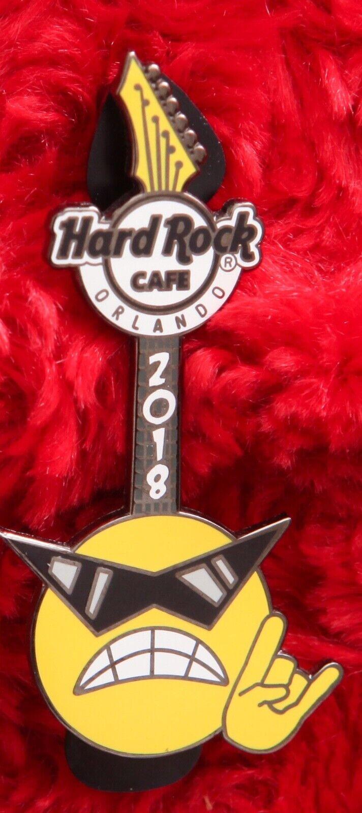 Hard Rock Cafe Pin Orlando Rockmoji Smiley Face Guitar Sunglasses Hat Lapel - $9.99