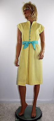 Vintage 70's Yellow Linen Blend Disco Dress Green Trim by DW3 Fashions Size M
