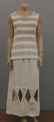 PRISA LINEN KNIT STRIPED SEMI SHEER SLEEVELESS TANK TOP WHTE CAP Sz 0 US 6 $225