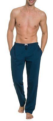Navy Baumwolle Pyjama (Herren Pyjamahose lang mit Seitentaschen, Single Jersey, reine Baumwolle)